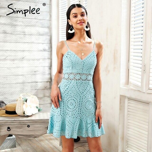 Simplee ремень выдалбливают кружевное платье Женщины Хлопок Вышивка Повседневные платья Вечерние 2018 короткое летнее платье женский халат vestidos