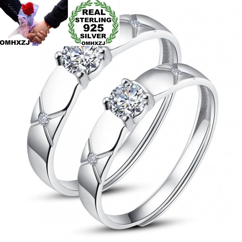 OMHXZJ Wholesale European Fashion Woman Man Party Wedding Gift Silver Lovers AAA Zircon Resizable 925 Sterling Silver Ring RR244