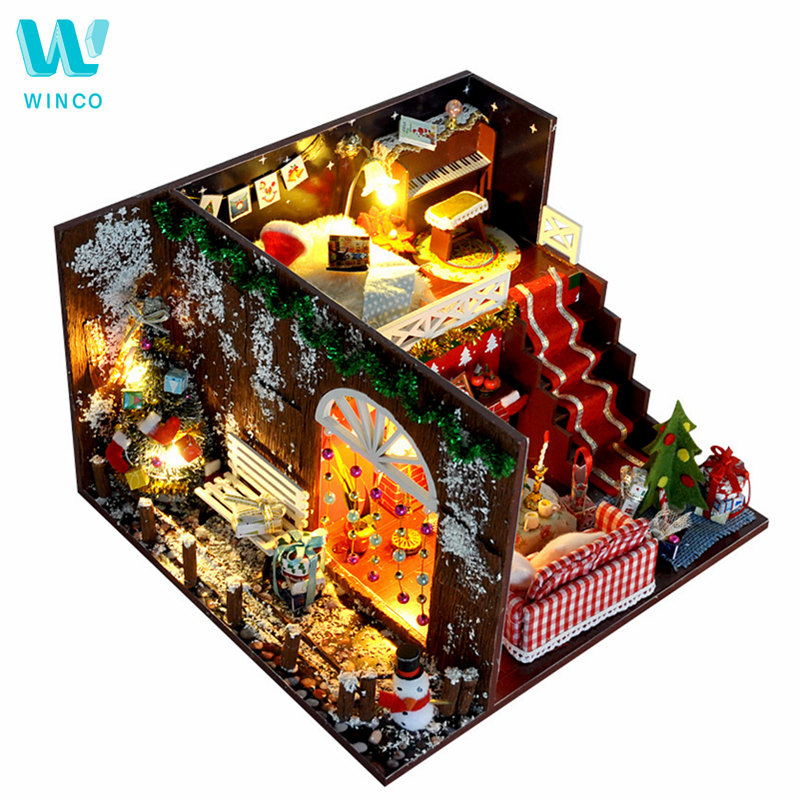 WINCO DIY Miniature Dollhouse Furniture Christmas Carnival Night Wooden Dolls House With LED Light Kits Gift Toys For Children