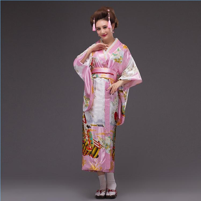 Hot New Pink Japanese Women Silk Kimono Sexy Yukata With Obi Vintage Party  Prom Dress Cosplay Halloween Costume One Size B-012 2d20b301bfdb