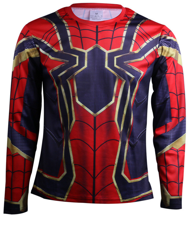 Raglan Sleeve Spiderman 3D Printed T shirts Men Compression Shirts 2018 NEW Crossfit Tops For Male Cosplay Costume Clothing