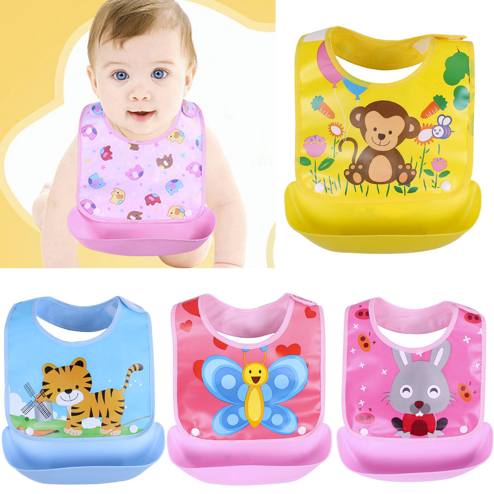 Newborn Baby Bibs Waterproof Baby Aprons Bib infant saliva towels cute baby cartoon bib baby slabbetjes plastic EVA baberos bebe(China)