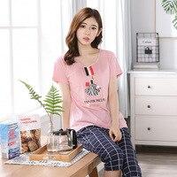 Woman Pajamas Sets Hot Summer Short Sleeve Thin Pyjamas Home Furnishing Clothing Cartoon Print Cute Loose