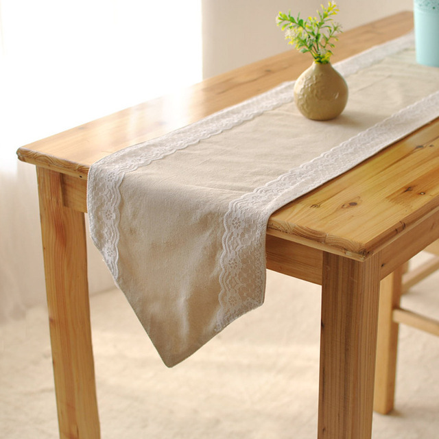 New Woven 100 Linen Party Table Runners Home Decorative Lace Solid Runner Cotton For Wedding