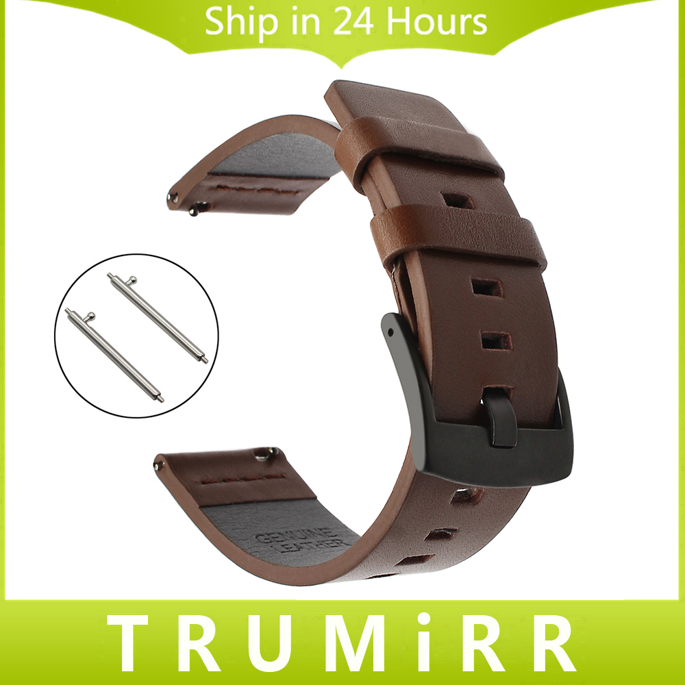 22mm Italy Genuine Leather Watchband for Moto 360 2 46mm Men Ticwatch 1 Gear 2 Neo Live Pebble Time Smart Watch Band Wrist Strap