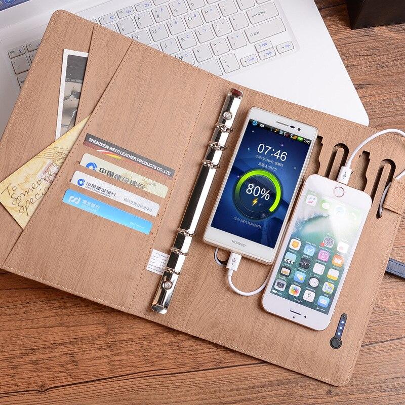 Carnet de notes en cuir d'affaires et clés USB et batterie externe A5 classeur spirale Journal Agenda Agenda stockage de l'argent et carte bancaire