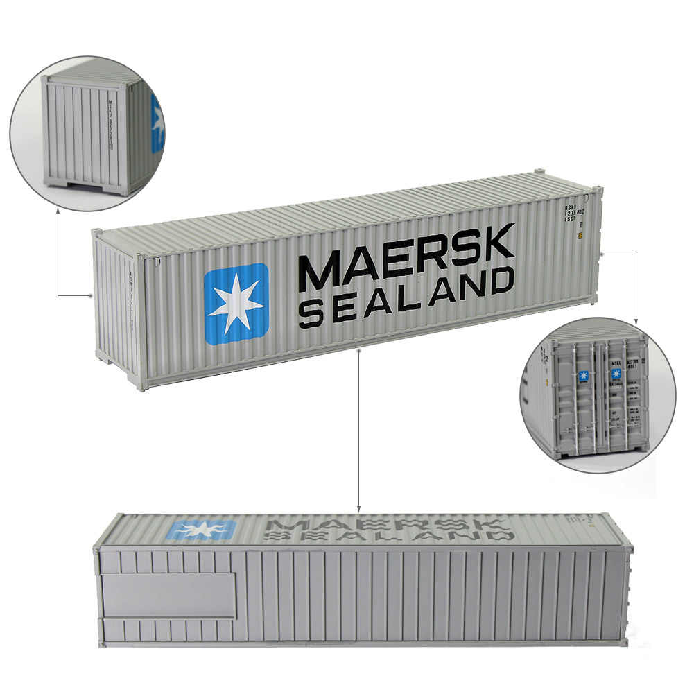 2pcs HO Scale Model Train 40 Foot Container 40ft Shipping Container Freight Car Wagon 1:87 C8746 Railway Modeling