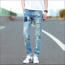 2015 Men's Ripped Jeans Slim Foot Stretch Posted Badges Tide Skinny Jeans Men Fashion Denim Pants Men