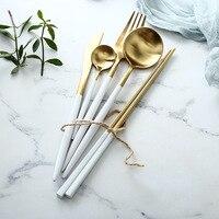 KINGLANG 304 Stainless Steel Golden And Silver Western Dish Steak Knife Fork Spoon Chopsticks Coffee Spoon Tableware