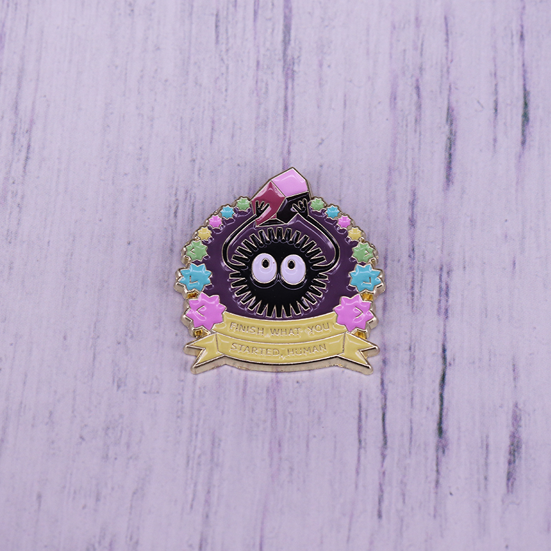 Soot sprite enamel pin ,finish what you started,human qoute pin,Spirited Away inspired pin badge(China)