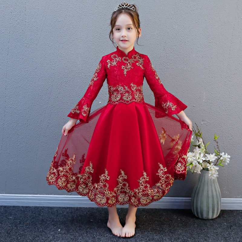 2018 New Luxury Embroidery Lace Children Girls Wedding Formal Birthday Party Long Princess Dress Baby Kids Flare Sleeves Dress 2017 new high quality girls children white color princess dress kids baby birthday wedding party lace dress with bow knot design
