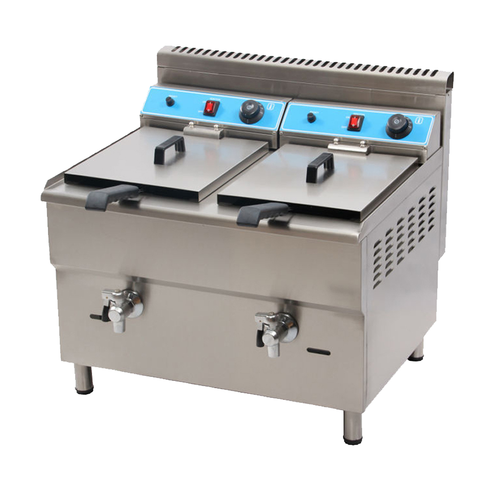 Free Shipping 34l Double Tank Professional Kitchen Equipment Double Tanks Gas Industrial Deep Fryer