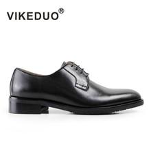 VIKEDUO Fashion Black Classic Handmade Male Cow Leather Shoe Mans Party Dance Wedding Dress Shoe Casual lace-up Men Derby Shoes