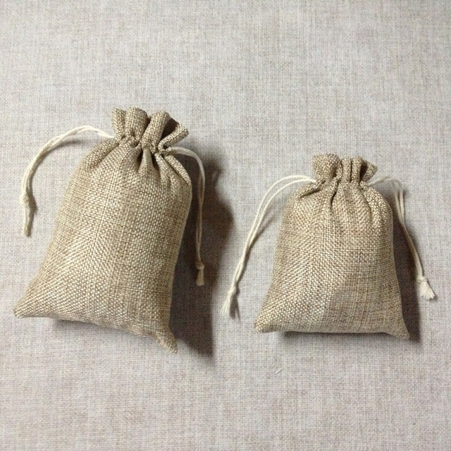 Free Shipping 10 X Natural Burlap Candy Pouch With Jute Drawstring Hessian Favour Bags Gift