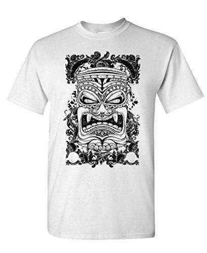 T Shirt Company Crew Neck Short-Sleeve Summer Mens Tiki face - island tropical paradise Tee Shirt