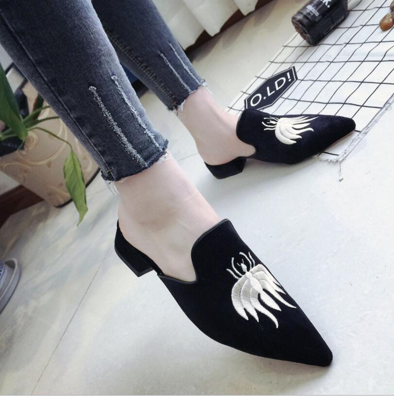 2017 Embroider Velet Mules Slides Furry Slipper Flat Heel Pl