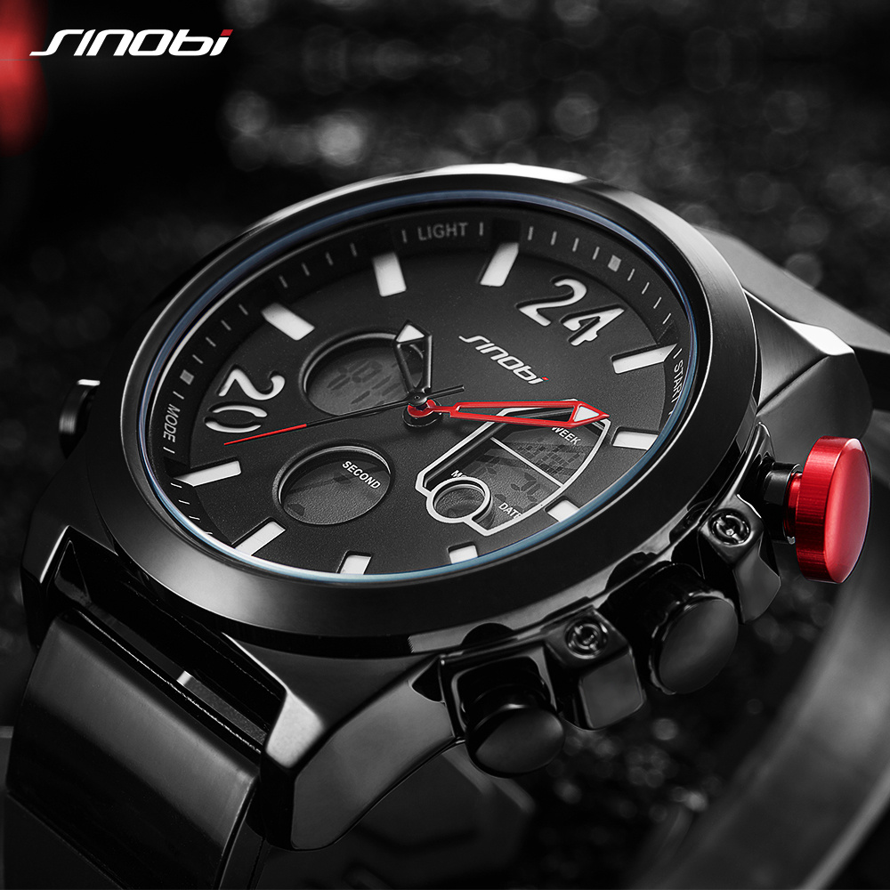 SINOBI 2019 Տղամարդկանց Ձեռքի ժամացույցներ LED Chronograph Ժամացույց տղամարդ Ռազմական անջրանցիկ քվարց Արական ժամացույցներ Թվային մարզաձևեր Relogio Masculino