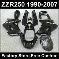 Custom ABS factory fairings set for Kawasaki ZZR 250 ZZR250 1990 1992 2007 ZZR 250 90 07 all black motorcycle fairing bodywork