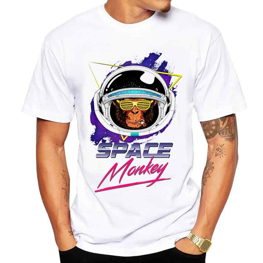 2018 Summer Casual Men's T-Shirt Funny Cool Monkey Print T Shirt Men White Round Neck Casual Cotton Short Sleeve Tops Tees