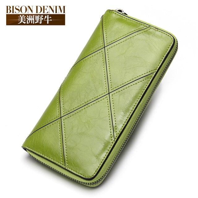 fca7725bc Marca BISON DENIM 2018 nueva cartera de cuero para mujer de moda genuina  larga bolso de