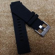 29mm lug 22mm (terminal de Reloj) NUEVA Negro correas de reloj de plata del Corchete Buceo Caucho de Silicona Watch BAND Correa De horas Marca Promoción caliente