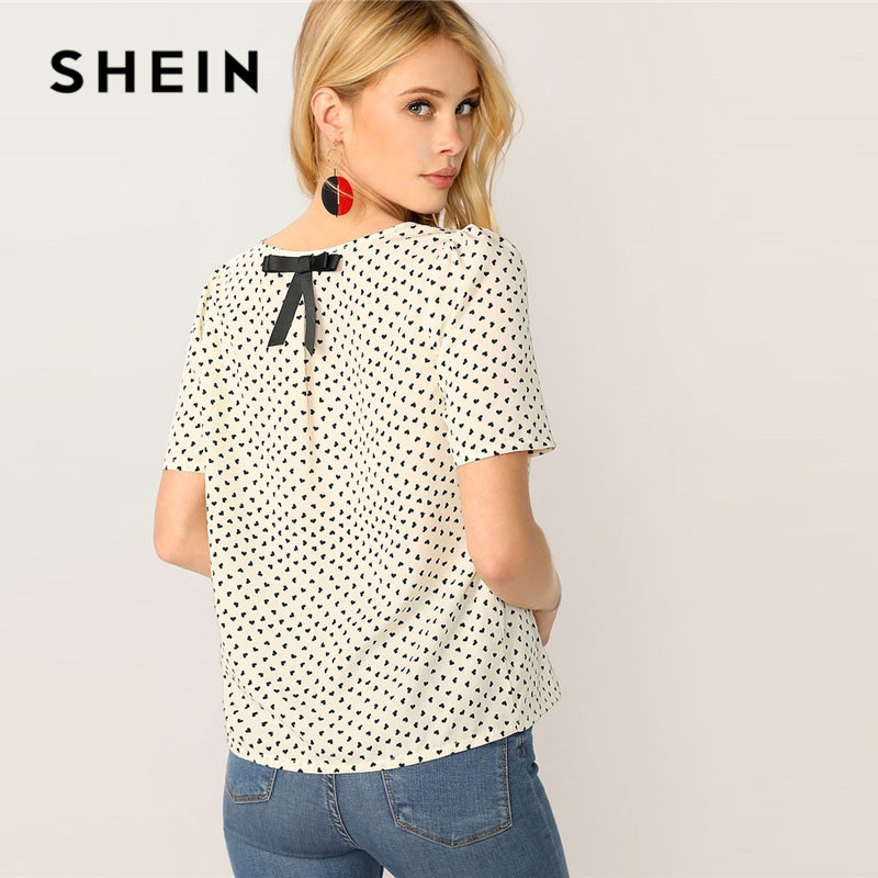 SHEIN Bow Details Heart Print White Blouse Ladies Tops 2019 Summer Casual Round Neck Womens Tops And Blouses Women Blouses