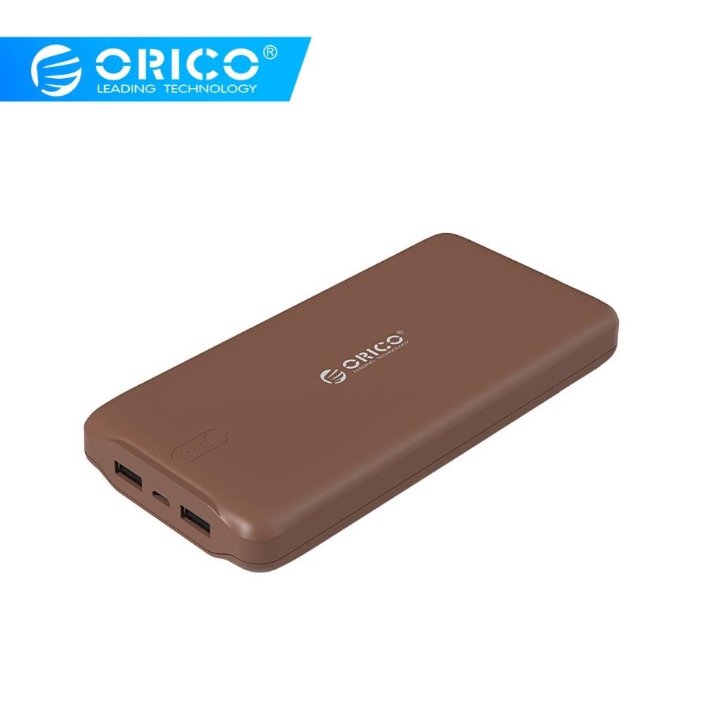 ORICO 20000mAh Power Bank Portable Charger Dual USB Mini Powerbank External Battery Pack Battery Bank For IPhone Charging Xiaomi