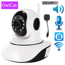 OwlCat Wireless 1080p 720p HD IP Camera WiFi Dome IR Night P2P Baby Monitor Audio SD Card CCTV Onvif Temperature humidity sensor