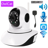 OwlCat Wireless 1080p 720p HD IP Camera WiFi Dome IR Night P2P Baby Monitor Audio Talk SD CCTV Onvif Temperature humidity sensor