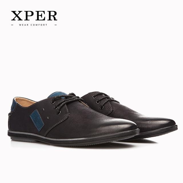 2016 XPER Zapatos Casuales Para Hombre Negro con cordones de Los Hombres Zapatos de Negocios Zapatos de Los Planos de Gran Tamaño Chaussure Homme YM86832BL