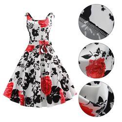 50S Vintage Hepburn Style Rose Print Flare Dress 6