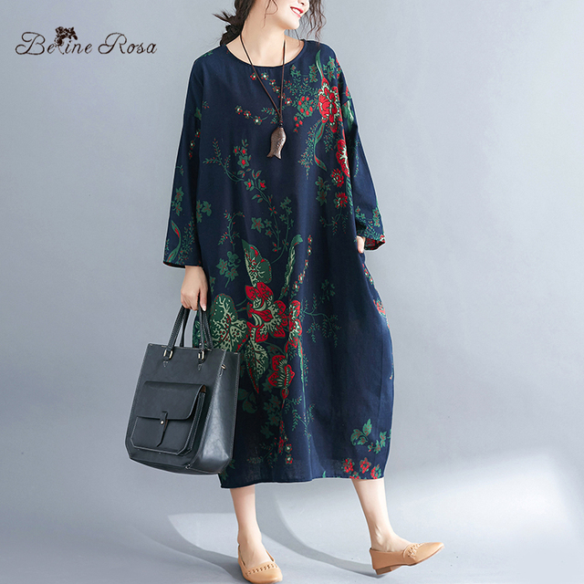 Women's Plus Size Dresses Spring Style Vintage Floral Printing Cotton Linen Big Size Female Dress 3