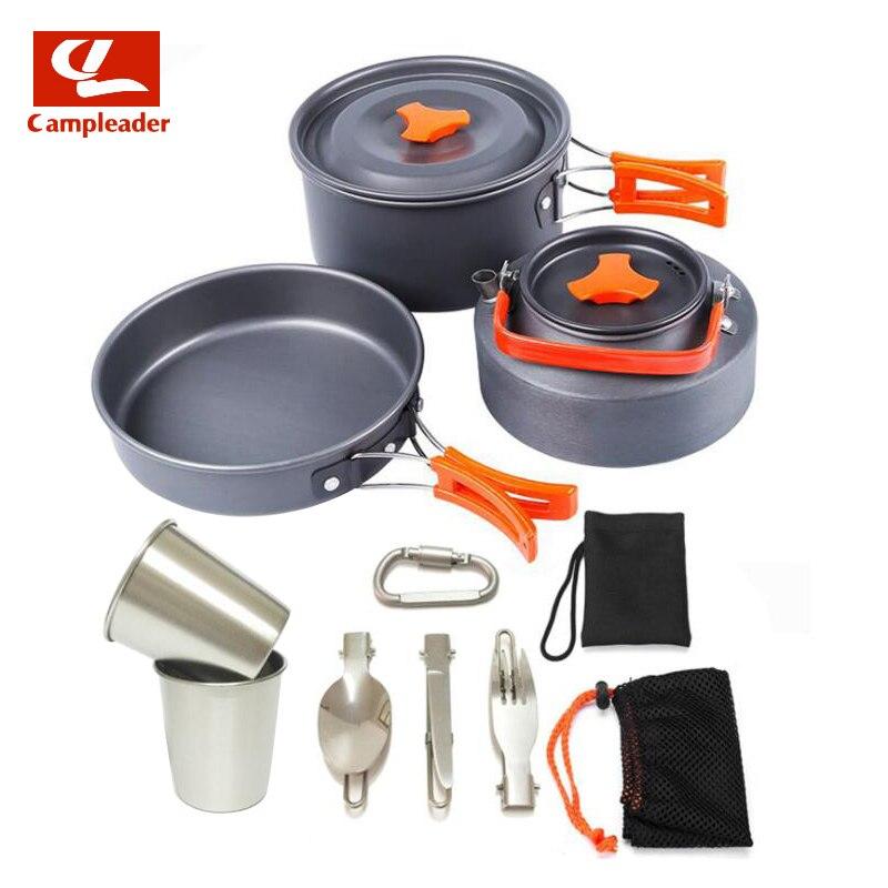 1-2 personnes en plein air théière Pots tasse combinaison en alliage d'aluminium Portable batterie de cuisine Set Camping Pot CL312