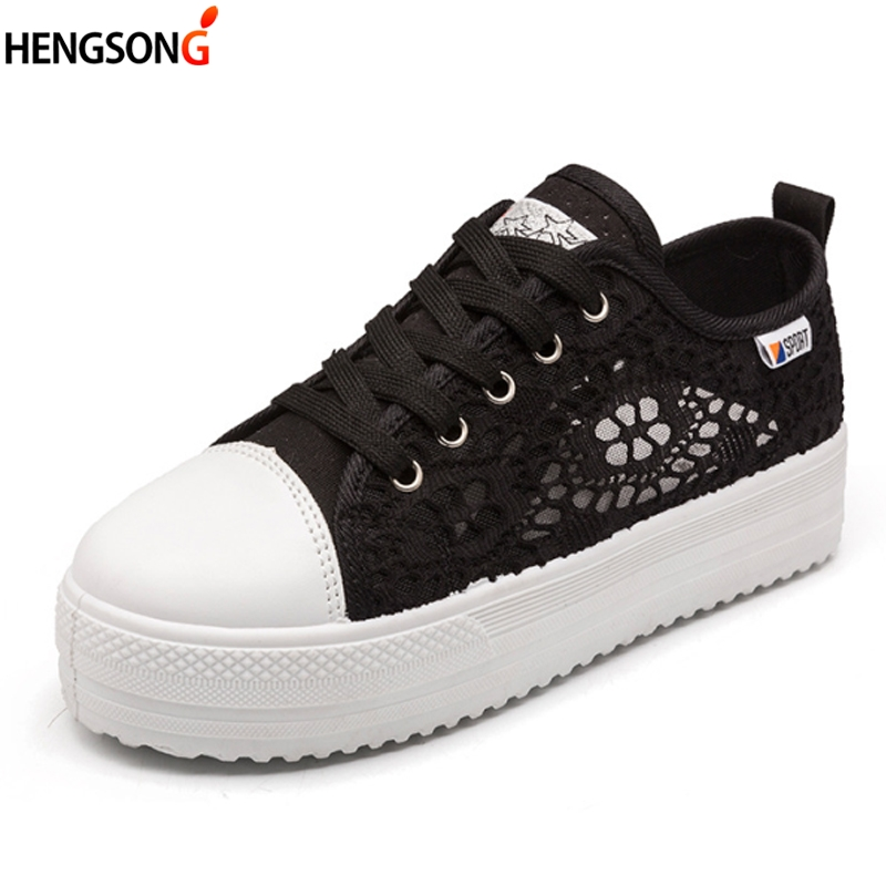 2017 Summer Women Shoes Casual Cutouts Lace Canvas Shoes Hollow Floral Breathable Platform Flat Shoe White Black 23-25.5cm summer women shoes casual cutouts lace canvas shoes hollow floral breathable platform flat shoe sapato feminino lace sandals page 8