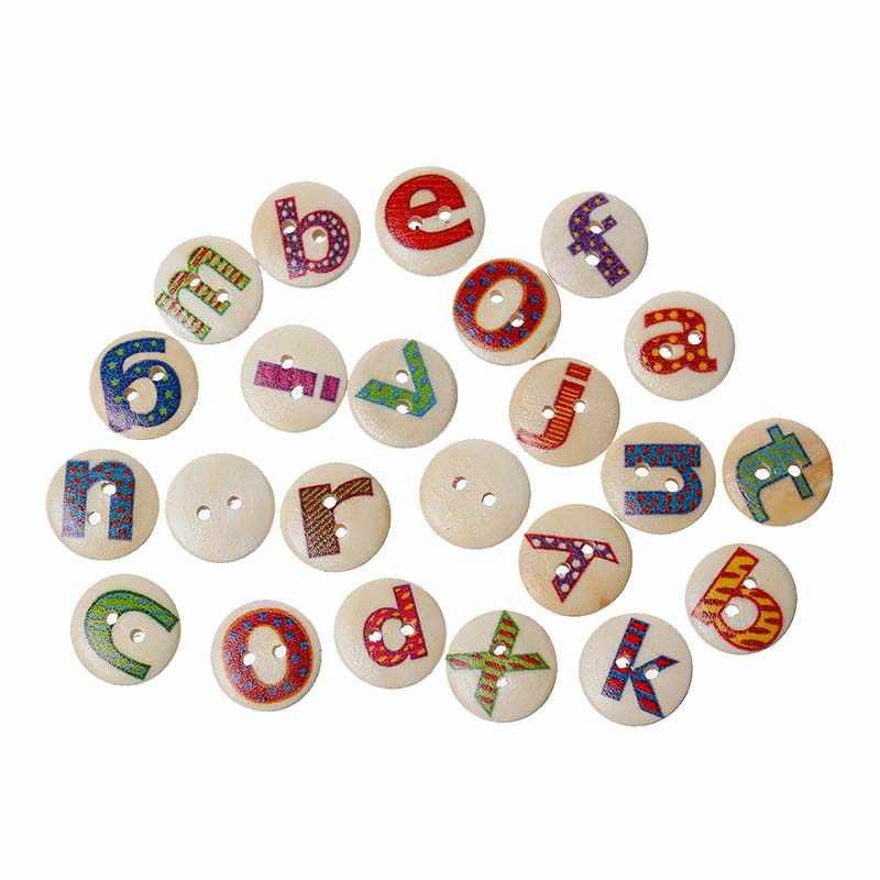 7 adet karikatür ahşap paskalya dikiş düğmeleri Scrapbooking 2 delik tavşan baykuş kelebek bebek hayvan alfabe/mektup desen düğmesi