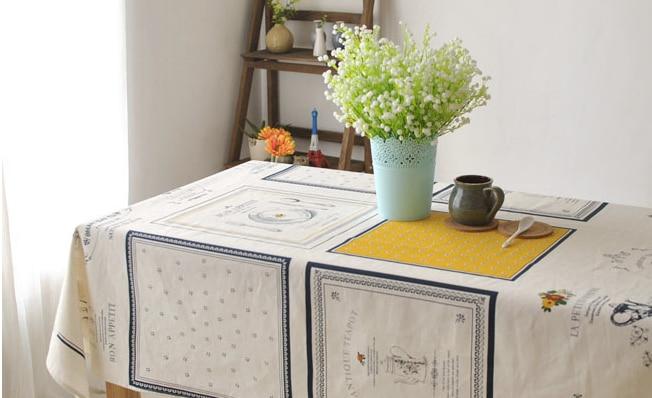 프랑스 법원면 리넨 패브릭 주방 테이블 커버 빈티지 다방 카페 식탁보