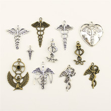 Charm Women Backless Dress Amulet Protects The Angel Wings Snake Supplies For Jewelry Materials Hand Made Charms(China)