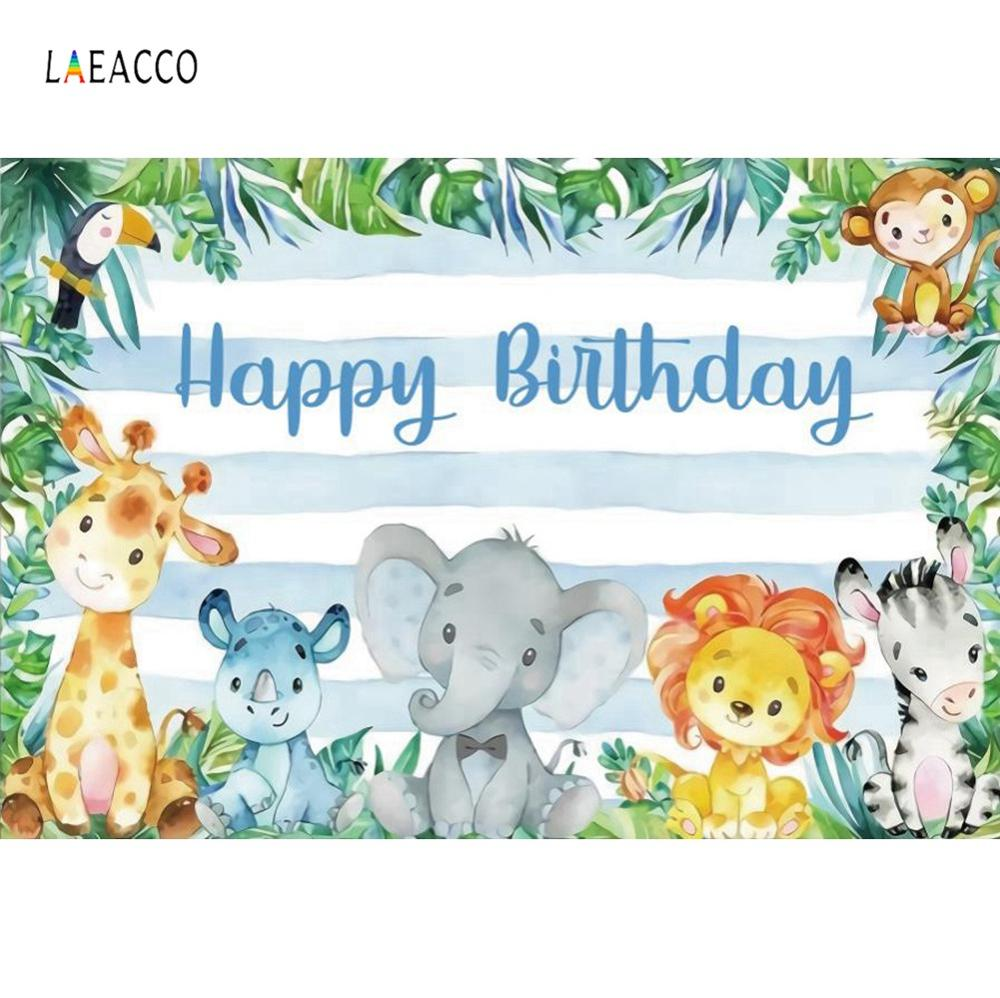 Watercolor Safari Birthday Party Jungle Cartoon Baby Child Poster Photo Backgrounds Photography Backdrops Photocall Photo Studio