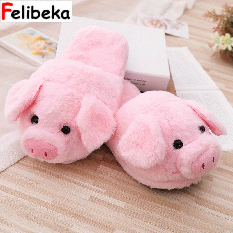 45b7b4eff3e Detail Feedback Questions about 2018 Winter new style Pink little pig house  adult girl slippers lady warm cotton plush head silent indoor flor women  shoes ...