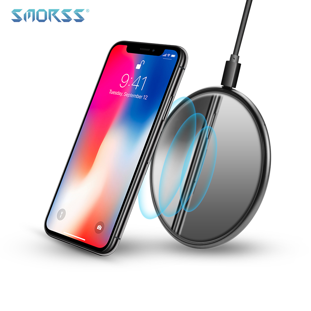 SMORSS Ultra Slim Standard Qi Wireless Fast Charger for iPhone X 8/8 Plus Metal Glass Wireless Charging Pad for Samsung Phones