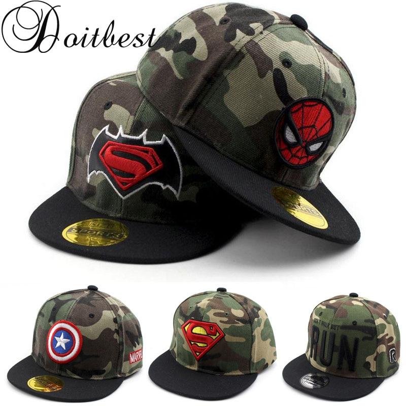 Doitbest spider-man 3-8 Y Children Hip Hop   Baseball     Cap   Summer kids Sun Hat Superman Camouflage Boys Girls snapback   Caps
