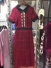 summer style fashion clothing see through crochet lace dress turn-down collar short sleeve mid-calf a line self portrait dress