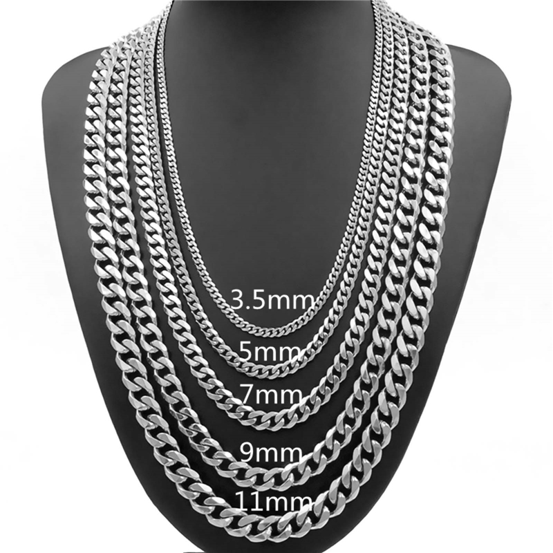 3.5/5/7/9/11mm Mens Necklace Curb Cuban Link Silver Tone Stainless Steel