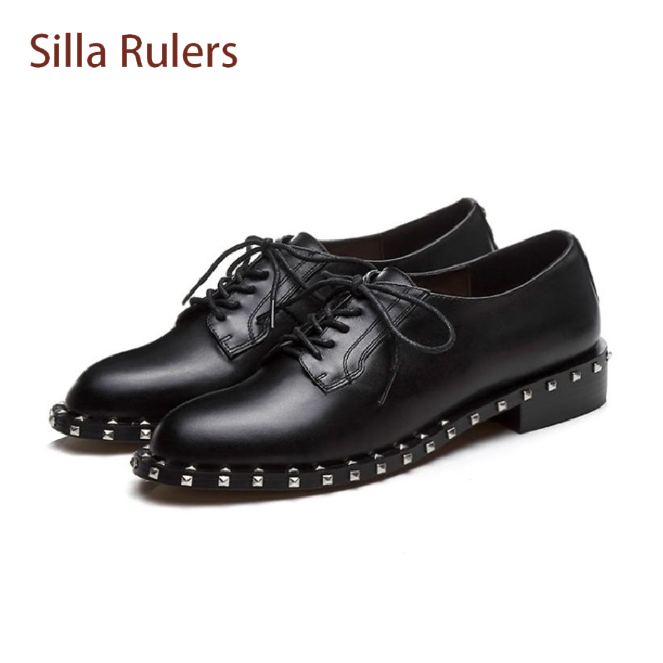Silla Rulers 2018 spring genuine leather brogues oxford shoes rivet low heel lace up women shoes concise style casual lady shoes beau today brand retro british style 2017 women low heel genuine leather casual brogues wingtip oxford shoes black blue brown