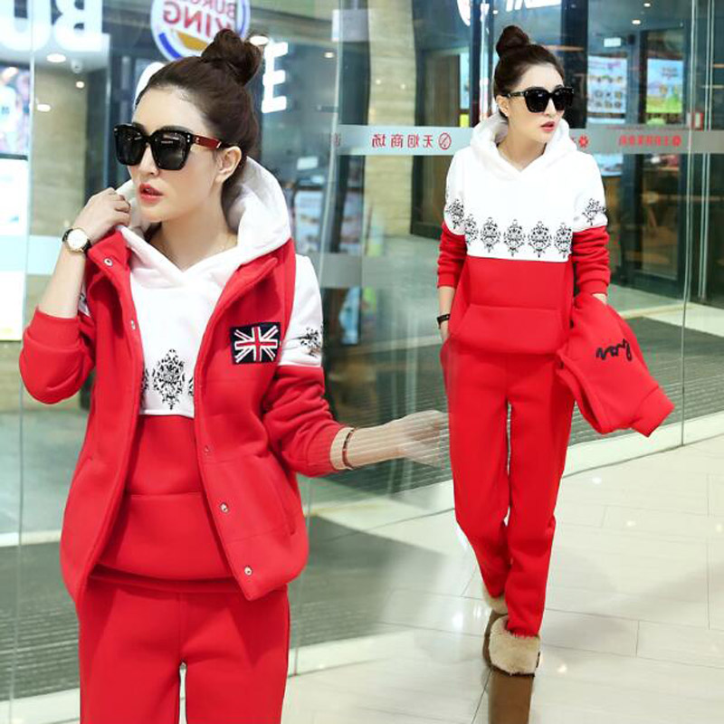 Sport Suit Women Tracksuit 3 Piece Set Women Fall Winter Woman Clothes Casual Hooded Sweatshirt Warm Sweat Suits Female Suit