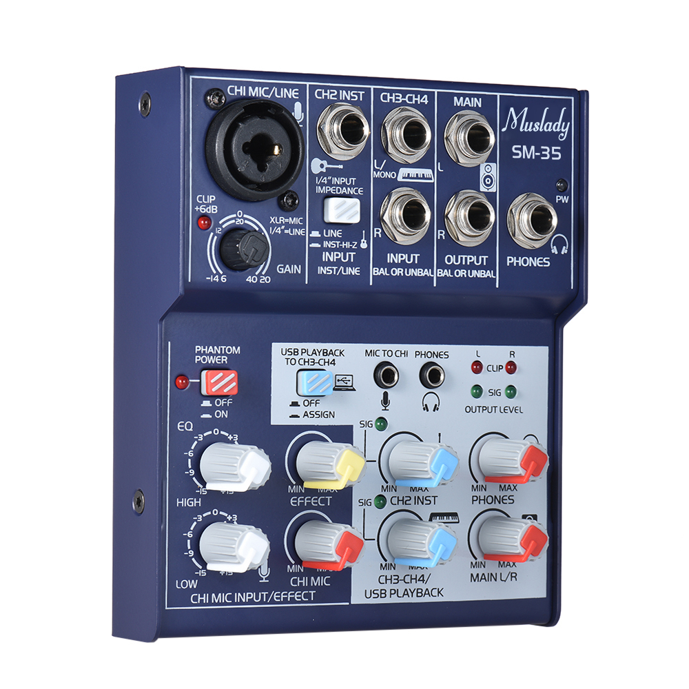 buy 4 channel mixing console sound card audio mixer supports 5v power bank usb. Black Bedroom Furniture Sets. Home Design Ideas