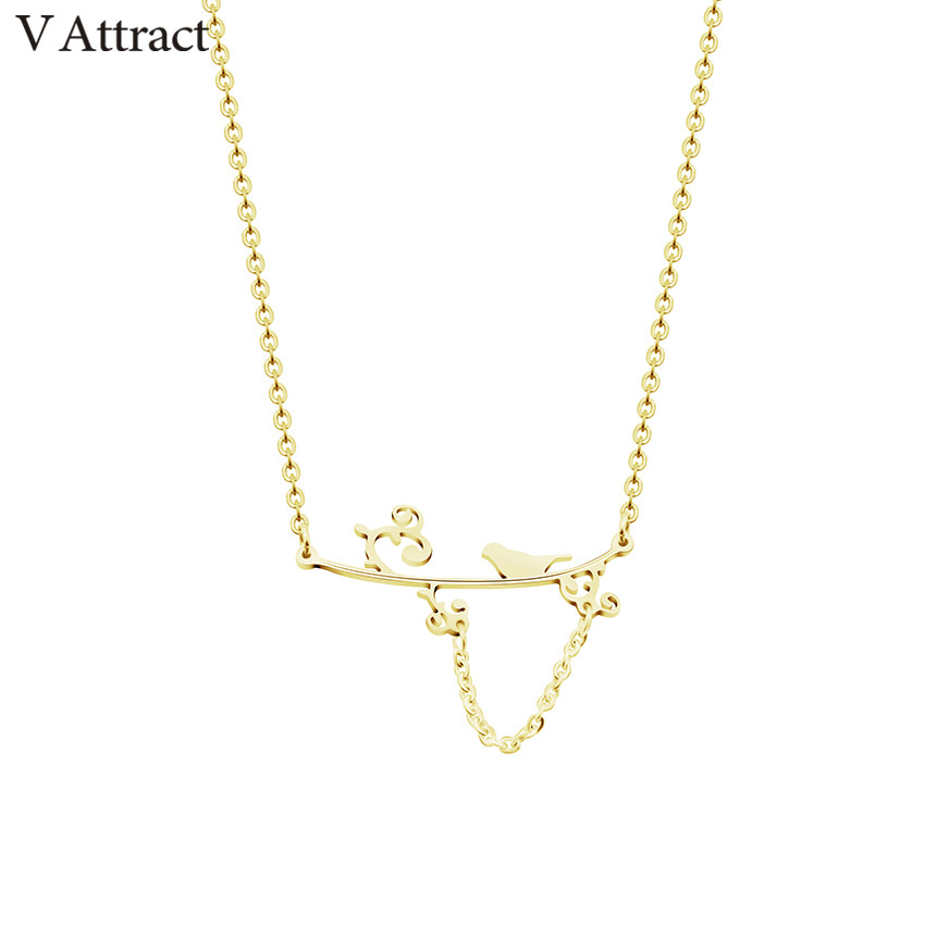 V Attract Bird on Branch Maxi Choker Safety Pin Maxi Necklace Pendant Women Men Jewelry Gold Ketting Colgantes Mujer Moda