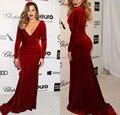 Khloe Kardashian 2017 Oscar Burgundy Velvet Celebrity Evening Dresses Long Sleeves Sexy V-neck Mermaid Red Carpet Prom Dress