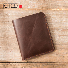 AETOO Leather wallet male short paragraph the first layer of leather handmade two fold thin driver's license wallet vertical 2016 new head layer crazy ma pipi new import two fold leather wallet men s short wallet leather folder hot free shipping