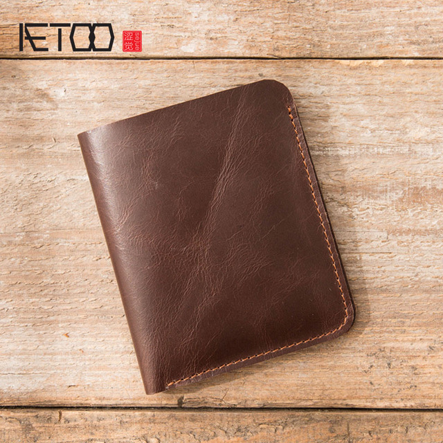 AETOO Leather wallet male short paragraph the first layer of leather handmade two fold thin drivers license wallet vertical